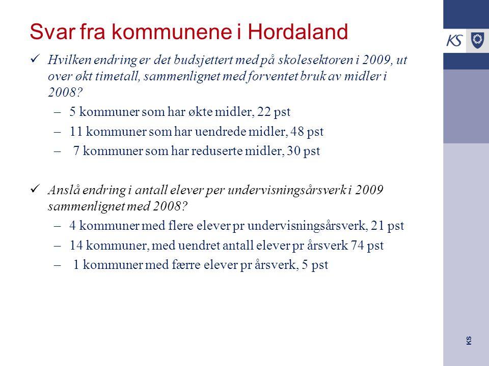KS Svar fra kommunene i Hordaland Hvilken endring er det budsjettert med på skolesektoren i 2009, ut over økt timetall, sammenlignet med forventet bruk av midler i 2008.