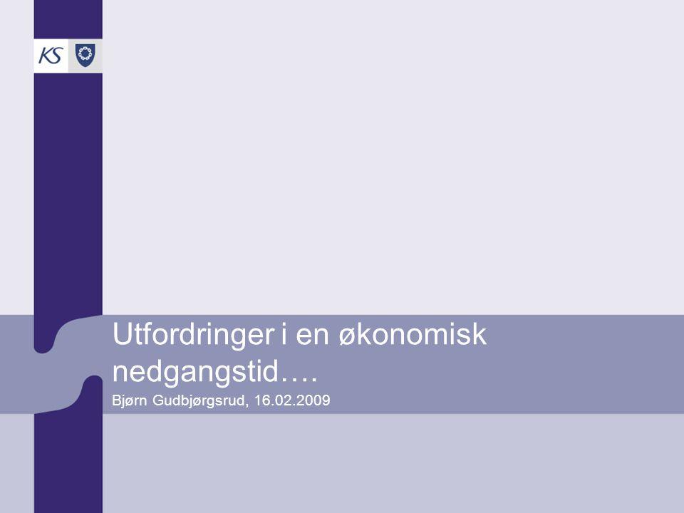 Utfordringer i en økonomisk nedgangstid…. Bjørn Gudbjørgsrud, 16.02.2009