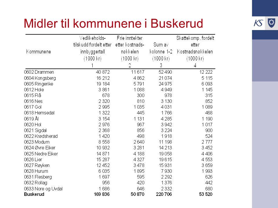 Midler til kommunene i Buskerud