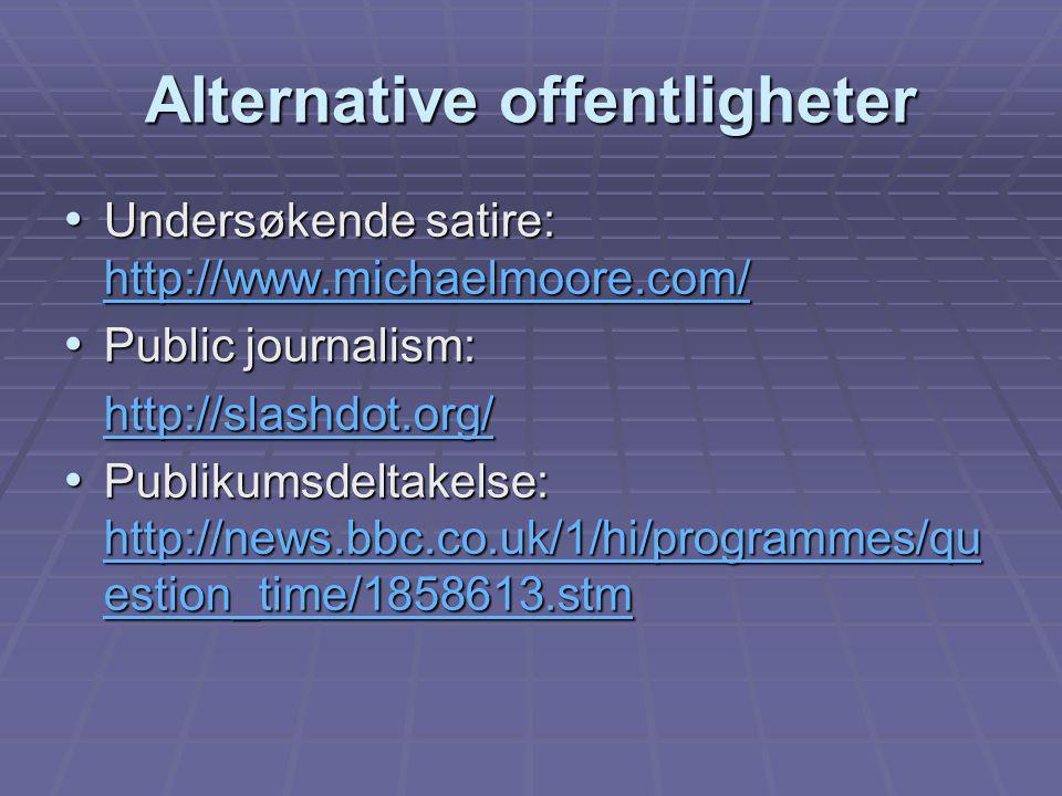 Alternative offentligheter Undersøkende satire: http://www.michaelmoore.com/ Undersøkende satire: http://www.michaelmoore.com/ http://www.michaelmoore