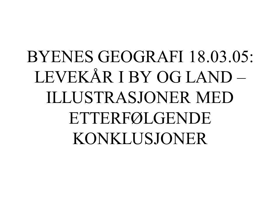 BYENES GEOGRAFI 18.03.05: LEVEKÅR I BY OG LAND – ILLUSTRASJONER MED ETTERFØLGENDE KONKLUSJONER
