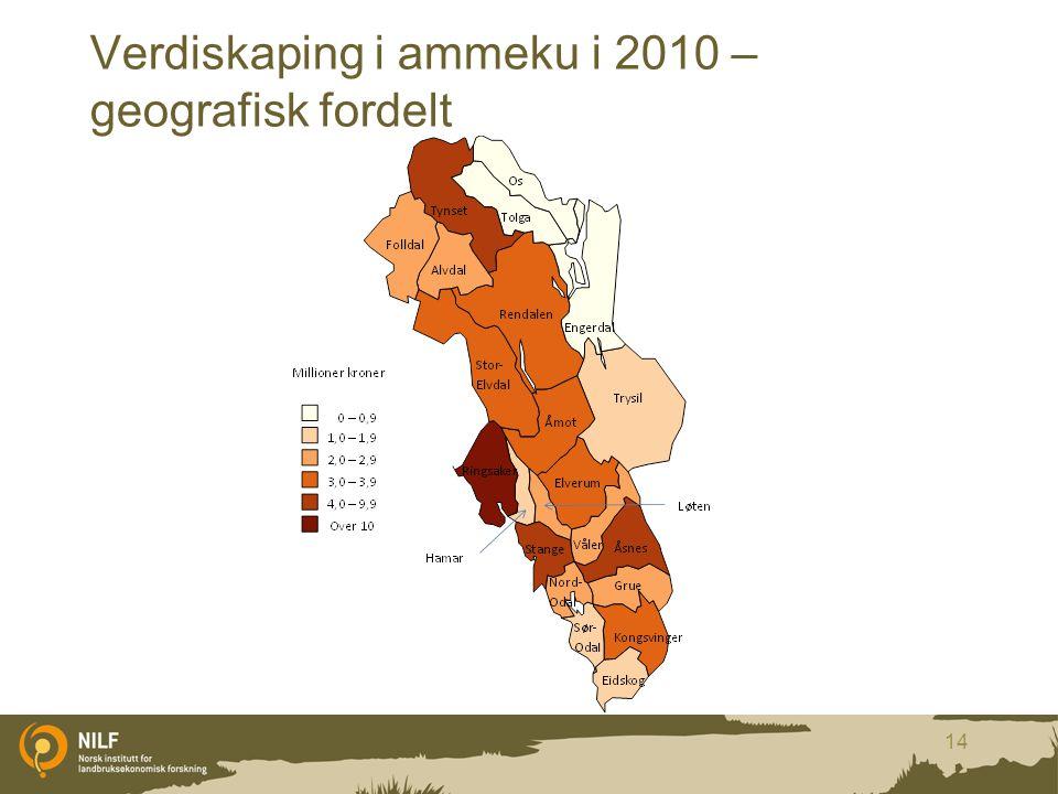 Verdiskaping i ammeku i 2010 – geografisk fordelt 14