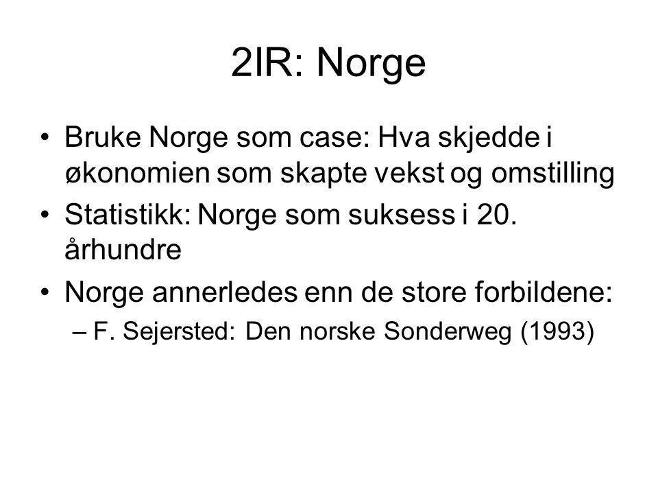2IR: Norge Bruke Norge som case: Hva skjedde i økonomien som skapte vekst og omstilling Statistikk: Norge som suksess i 20. århundre Norge annerledes