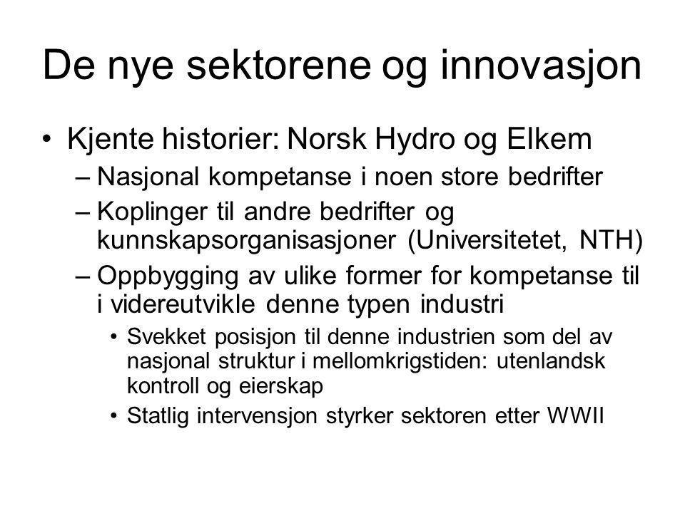 De nye sektorene og innovasjon Kjente historier: Norsk Hydro og Elkem –Nasjonal kompetanse i noen store bedrifter –Koplinger til andre bedrifter og ku
