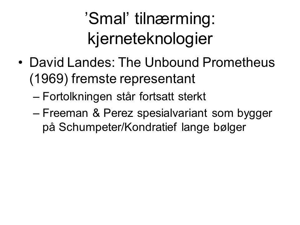 'Smal' tilnærming: kjerneteknologier David Landes: The Unbound Prometheus (1969) fremste representant –Fortolkningen står fortsatt sterkt –Freeman & P