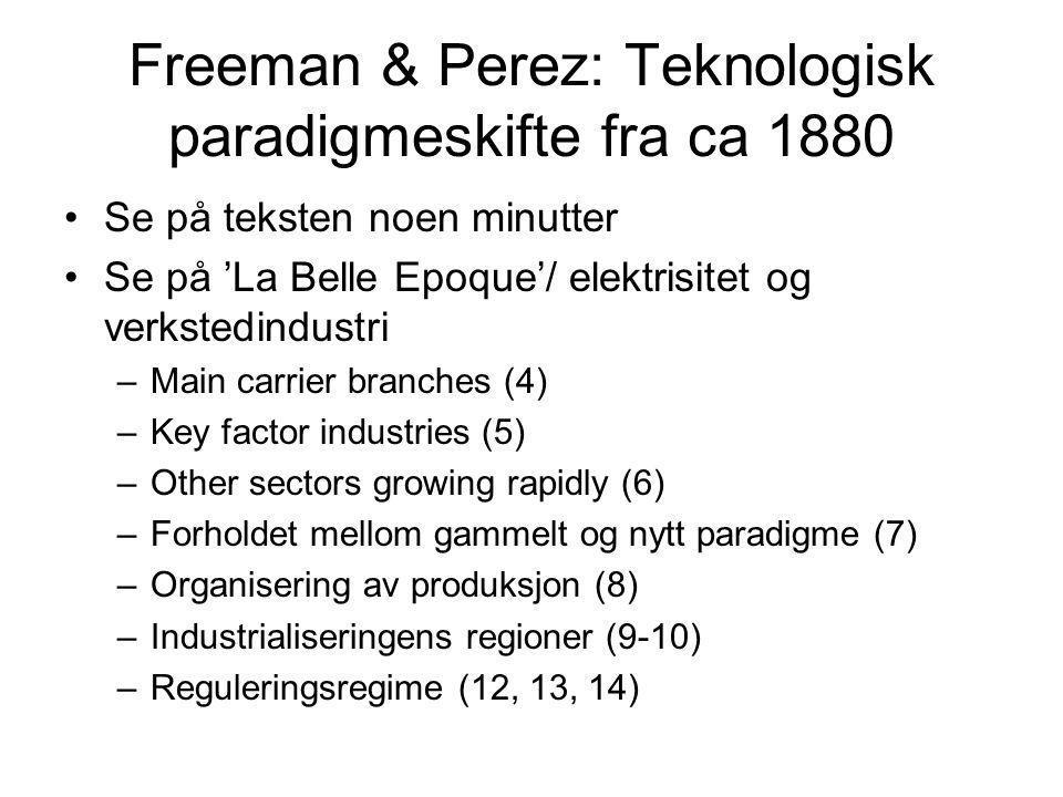 Freeman & Perez: Teknologisk paradigmeskifte fra ca 1880 Se på teksten noen minutter Se på 'La Belle Epoque'/ elektrisitet og verkstedindustri –Main c