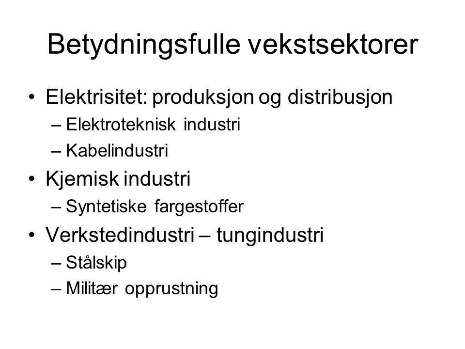 Betydningsfulle vekstsektorer Elektrisitet: produksjon og distribusjon –Elektroteknisk industri –Kabelindustri Kjemisk industri –Syntetiske fargestoff