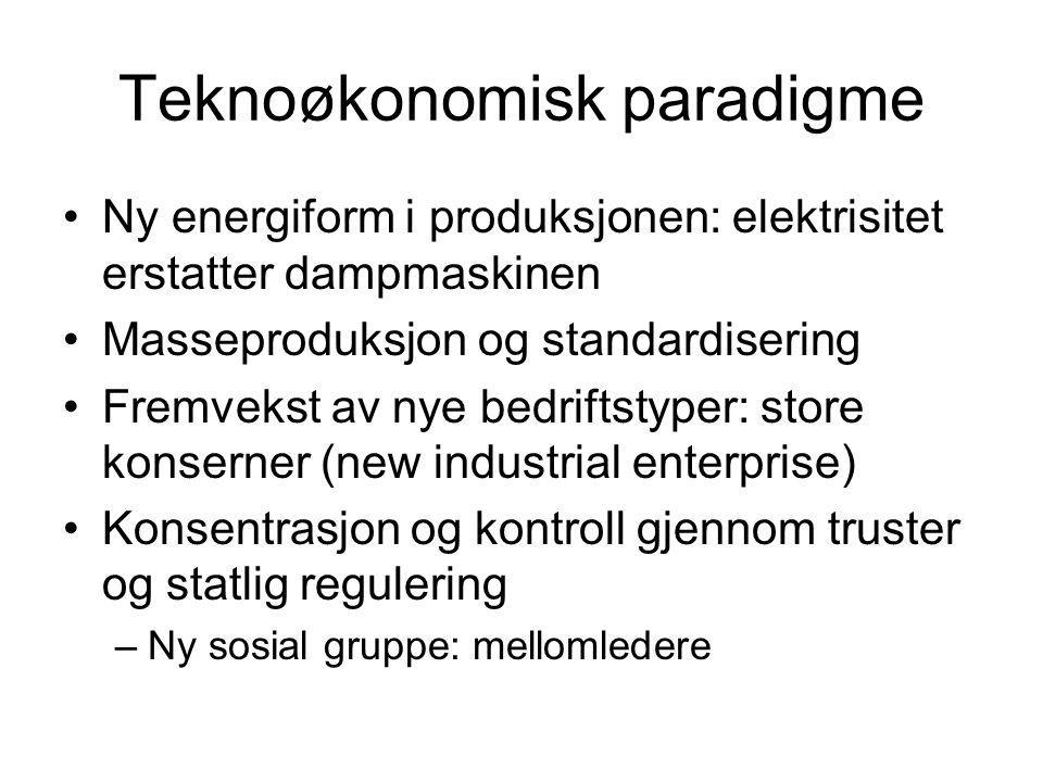 Teknoøkonomisk paradigme Ny energiform i produksjonen: elektrisitet erstatter dampmaskinen Masseproduksjon og standardisering Fremvekst av nye bedrift