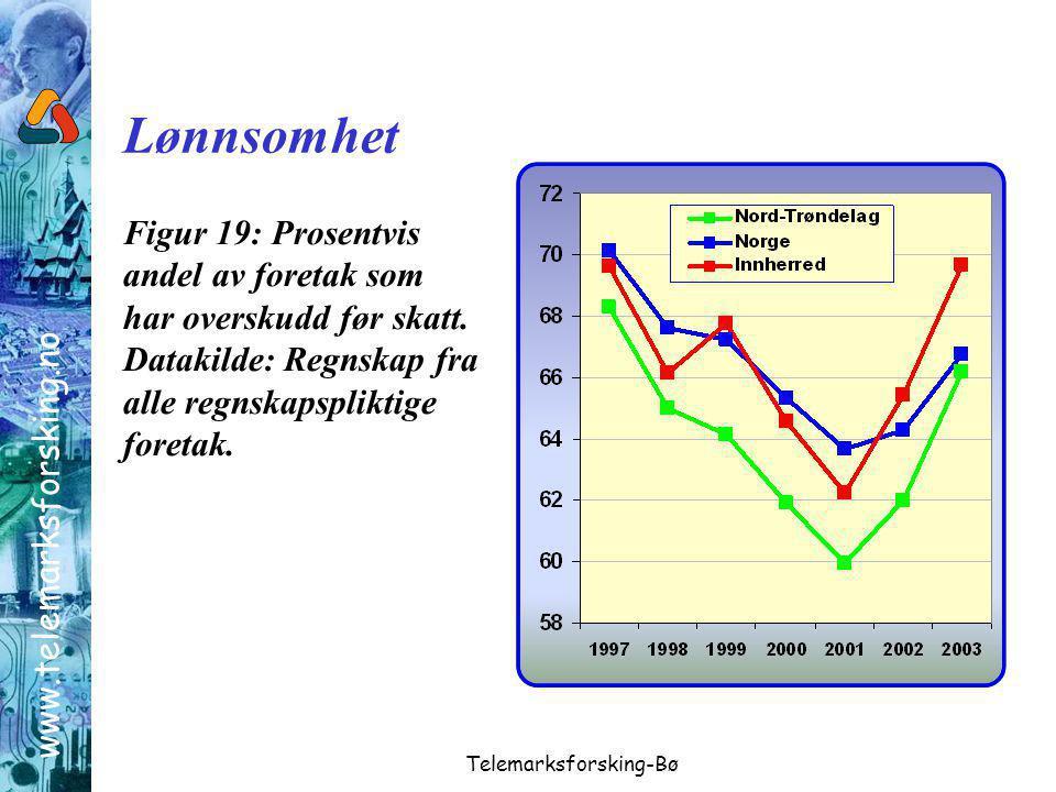 www.telemarksforsking.no Telemarksforsking-Bø Figur 19: Prosentvis andel av foretak som har overskudd før skatt.