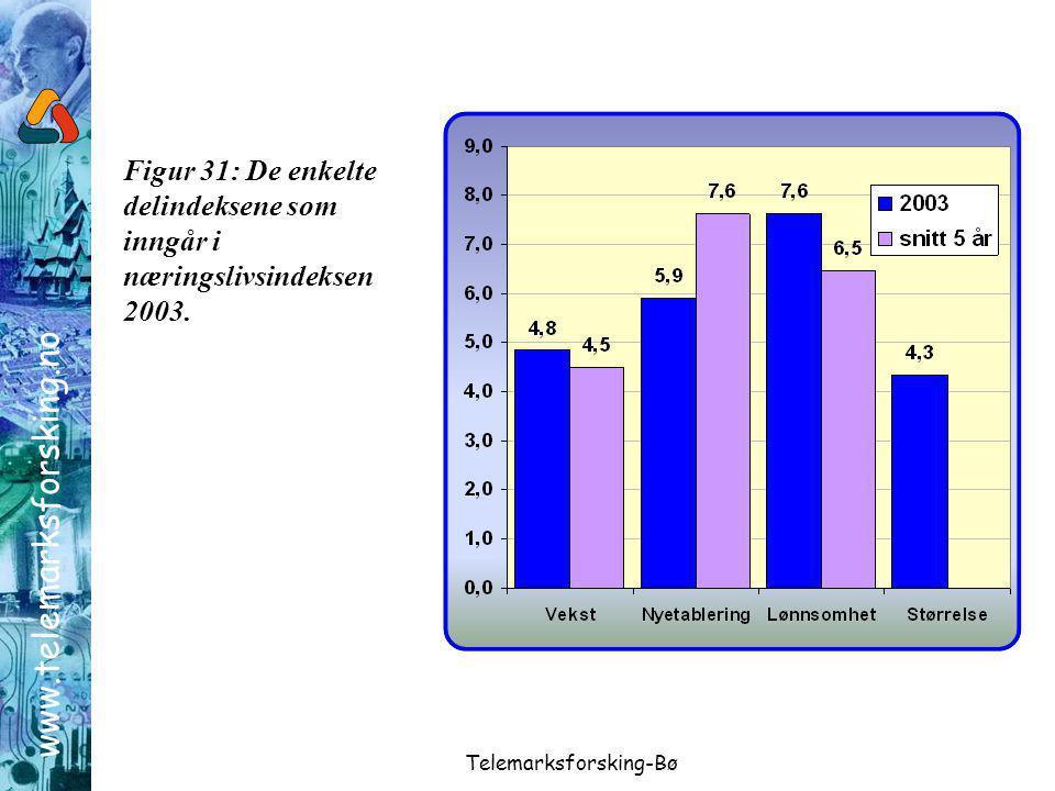 www.telemarksforsking.no Telemarksforsking-Bø Figur 31: De enkelte delindeksene som inngår i næringslivsindeksen 2003.
