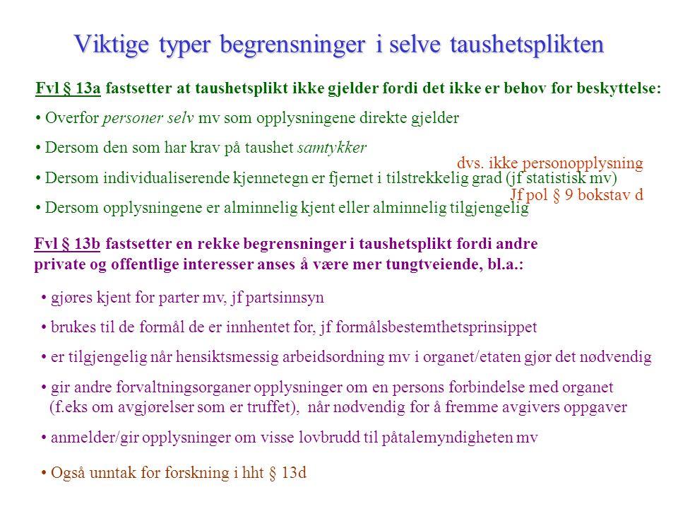 dvs. ikke personopplysning Jf pol § 9 bokstav d Viktige typer begrensninger i selve taushetsplikten Fvl § 13a fastsetter at taushetsplikt ikke gjelder