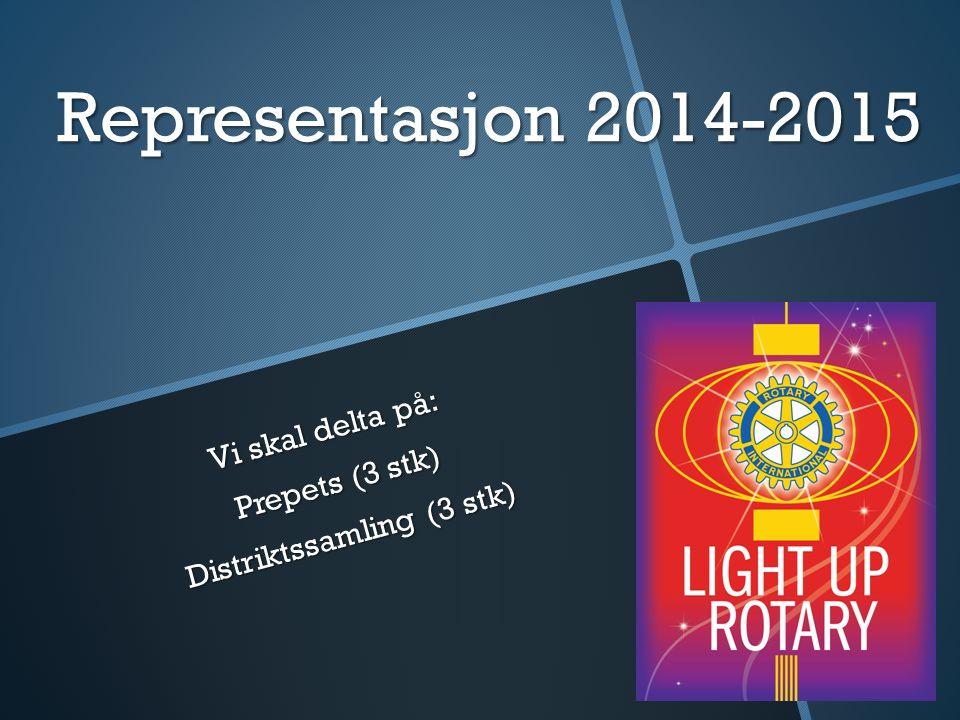 Representasjon 2014-2015 Vi skal delta på: Prepets (3 stk) Distriktssamling (3 stk)
