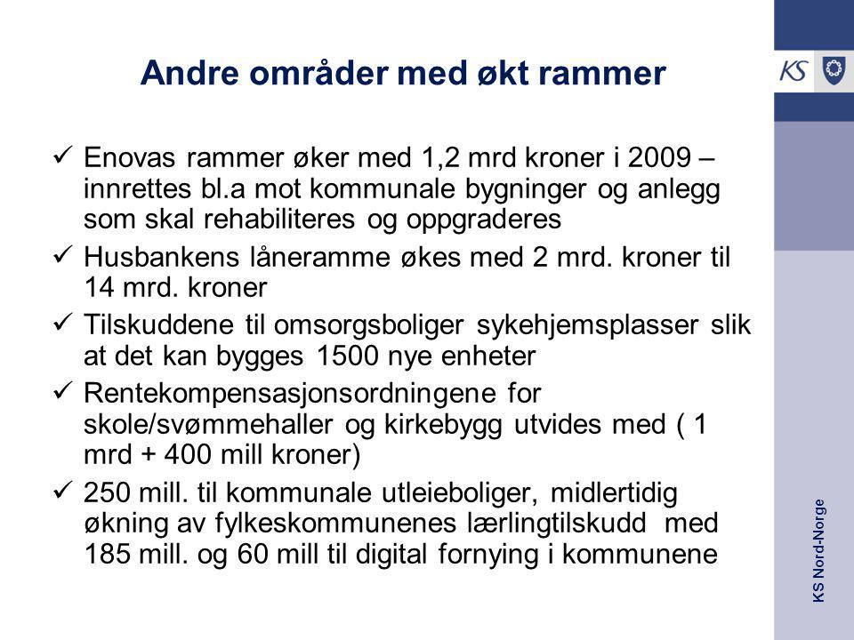 KS Nord-Norge Andre områder med økt rammer Enovas rammer øker med 1,2 mrd kroner i 2009 – innrettes bl.a mot kommunale bygninger og anlegg som skal re