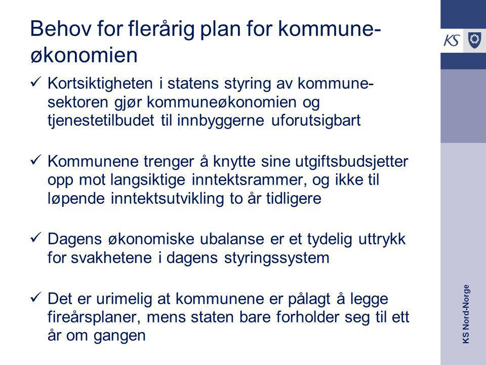 KS Nord-Norge Behov for flerårig plan for kommune- økonomien Kortsiktigheten i statens styring av kommune- sektoren gjør kommuneøkonomien og tjenestet