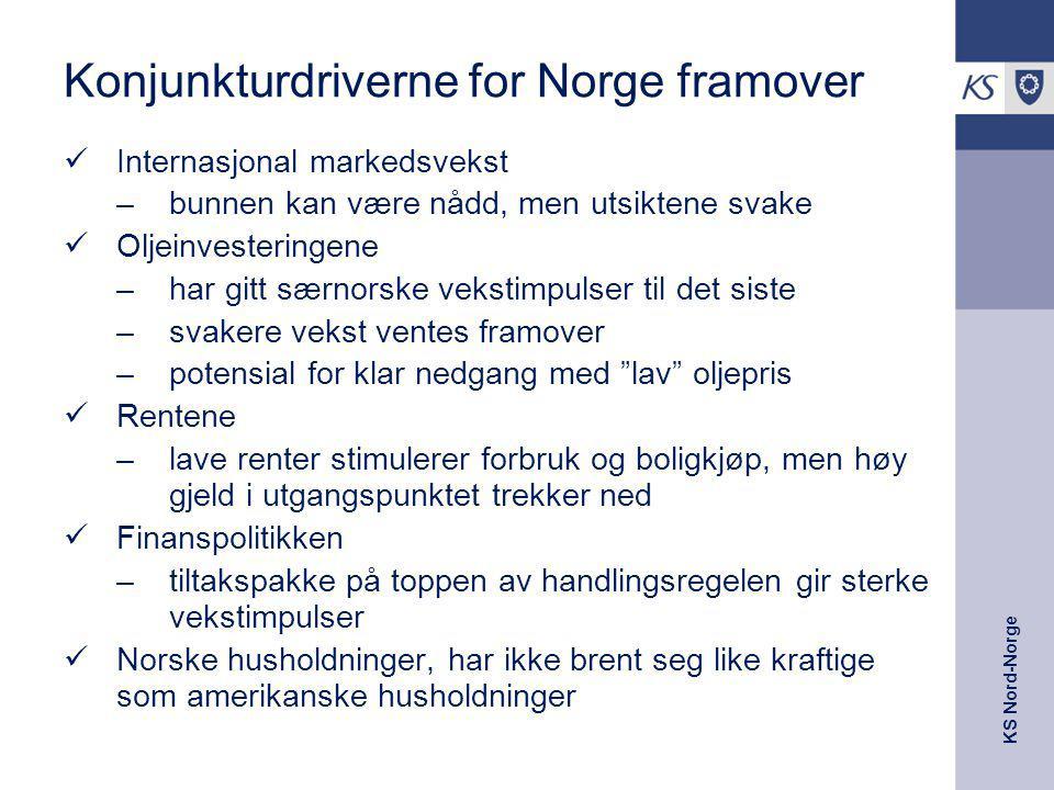 KS Nord-Norge Konjunkturdriverne for Norge framover Internasjonal markedsvekst –bunnen kan være nådd, men utsiktene svake Oljeinvesteringene –har gitt