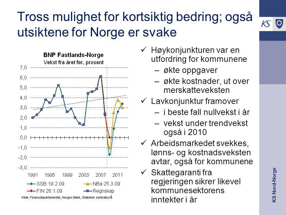 KS Nord-Norge Tross mulighet for kortsiktig bedring; også utsiktene for Norge er svake Høykonjunkturen var en utfordring for kommunene –økte oppgaver