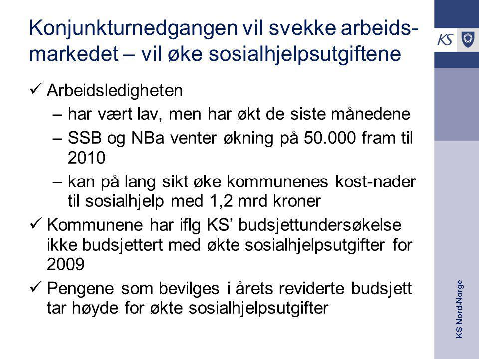 KS Nord-Norge Konjunkturnedgangen vil svekke arbeids- markedet – vil øke sosialhjelpsutgiftene Arbeidsledigheten –har vært lav, men har økt de siste m