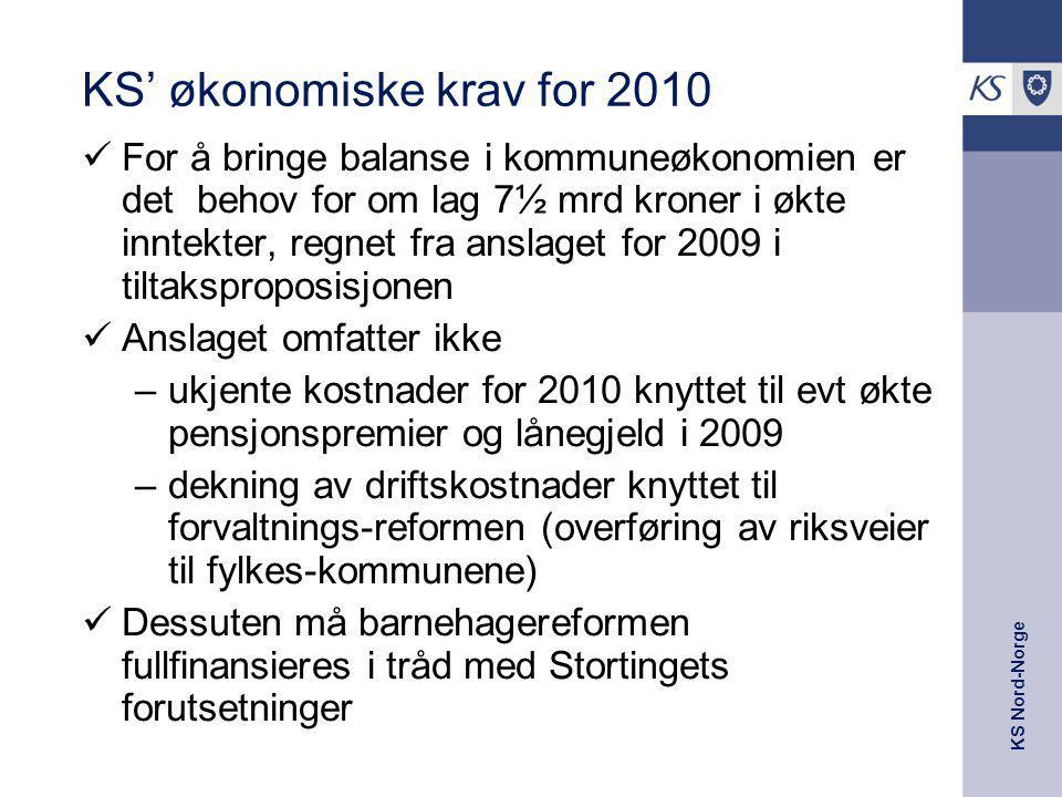 KS Nord-Norge Regjeringens forslag til årets reviderte budsjett og neste års kommuneopplegg Selv om KS sine krav ikke innfris fullt ut vil en vekst på fire milliarder kroner til kommunesektoren neste år sammen med økningen i tiltakspakken og satsningene i revidert nasjonalbudsjett bidra til å rette opp noe av ubalansen i kommuneøkonomien Kommunene må fortsatt vise moderasjon i forhold til nye tiltak