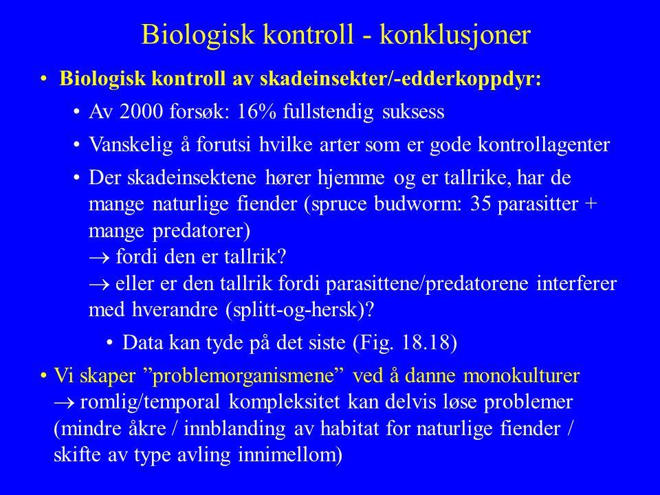 Biologisk kontroll - konklusjoner Biologisk kontroll av skadeinsekter/-edderkoppdyr: Av 2000 forsøk: 16% fullstendig suksess Vanskelig å forutsi hvilk