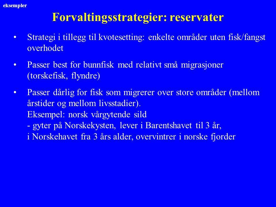 Forvaltingsstrategier: reservater Strategi i tillegg til kvotesetting: enkelte områder uten fisk/fangst overhodet Passer best for bunnfisk med relativ