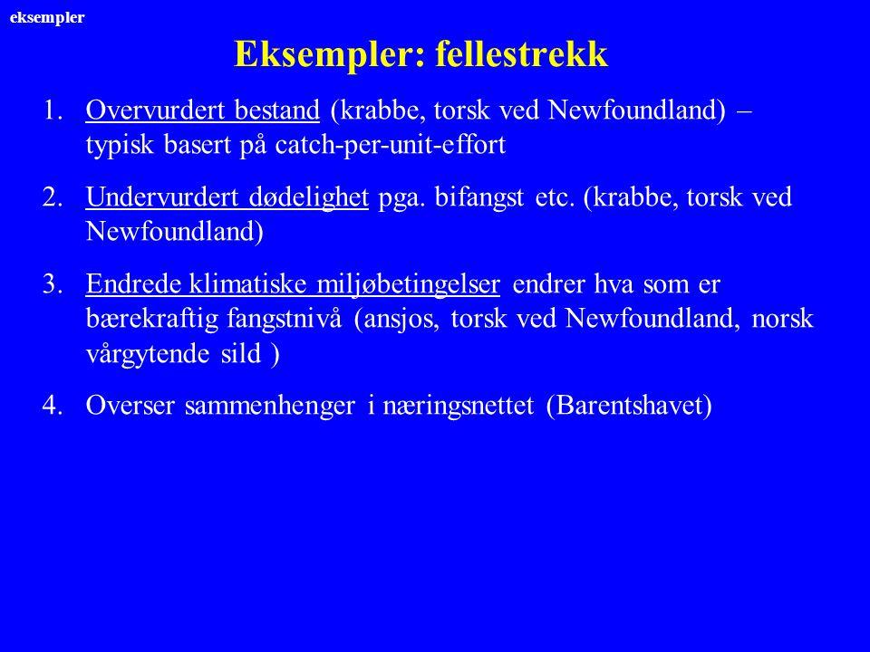 Eksempler: fellestrekk 1.Overvurdert bestand (krabbe, torsk ved Newfoundland) – typisk basert på catch-per-unit-effort 2.Undervurdert dødelighet pga.