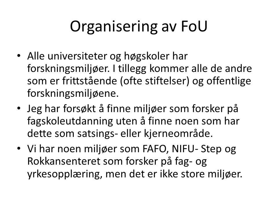 Organisering av FoU Alle universiteter og høgskoler har forskningsmiljøer.