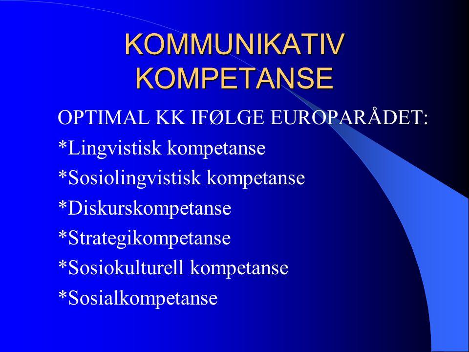 KOMMUNIKATIV KOMPETANSE OPTIMAL KK IFØLGE EUROPARÅDET: *Lingvistisk kompetanse *Sosiolingvistisk kompetanse *Diskurskompetanse *Strategikompetanse *So
