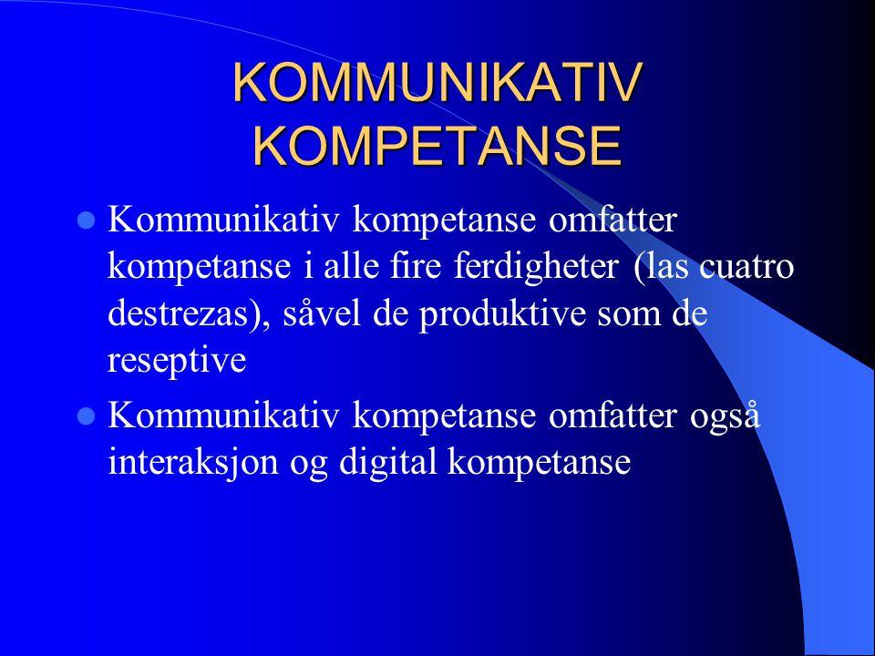 KOMMUNIKATIV KOMPETANSE Kommunikativ kompetanse omfatter kompetanse i alle fire ferdigheter (las cuatro destrezas), såvel de produktive som de resepti