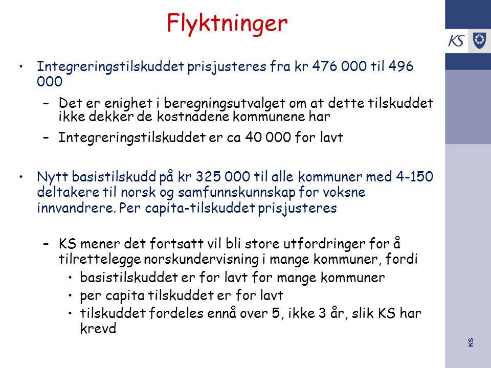 KS Integreringstilskuddet prisjusteres fra kr 476 000 til 496 000 –Det er enighet i beregningsutvalget om at dette tilskuddet ikke dekker de kostnadene kommunene har –Integreringstilskuddet er ca 40 000 for lavt Nytt basistilskudd på kr 325 000 til alle kommuner med 4-150 deltakere til norsk og samfunnskunnskap for voksne innvandrere.