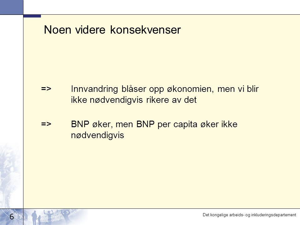 7 Det kongelige arbeids- og inkluderingsdepartement Norge må derfor i hovedsak satse på egne arbeidskraftsressurser Regjeringens hovedgrep:  Pensjonsreformen  Arbeids- og velferdsreformen Politikken for arbeidsinnvandring skal supplere og utfylle denne strategien