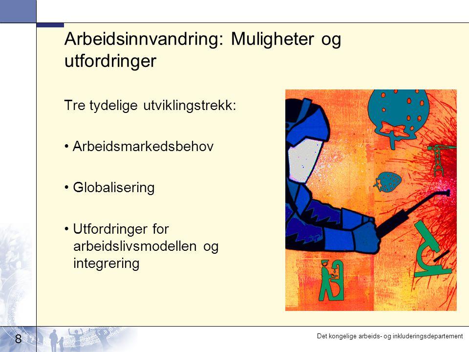 8 Det kongelige arbeids- og inkluderingsdepartement Arbeidsinnvandring: Muligheter og utfordringer Tre tydelige utviklingstrekk: Arbeidsmarkedsbehov Globalisering Utfordringer for arbeidslivsmodellen og integrering
