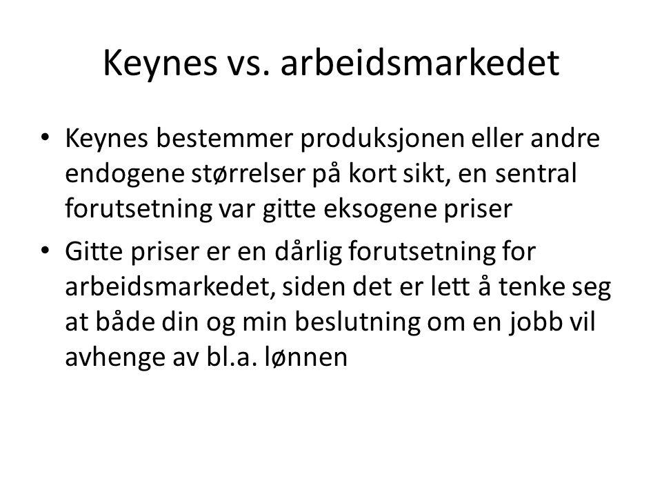 Keynes vs. arbeidsmarkedet Keynes bestemmer produksjonen eller andre endogene størrelser på kort sikt, en sentral forutsetning var gitte eksogene pris