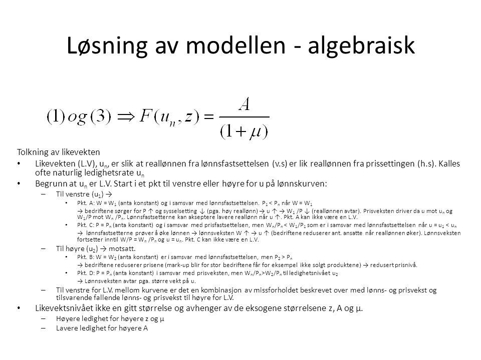 Løsning av modellen - algebraisk Tolkning av likevekten Likevekten (L.V), u n, er slik at reallønnen fra lønnsfastsettelsen (v.s) er lik reallønnen fr