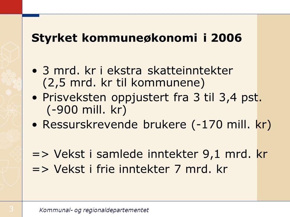 Kommunal- og regionaldepartementet 3 Styrket kommuneøkonomi i 2006 3 mrd. kr i ekstra skatteinntekter (2,5 mrd. kr til kommunene) Prisveksten oppjuste