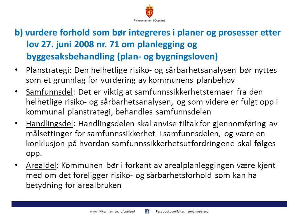 www.fylkesmannen.no/opplandFacebookcom/fylkesmannen/oppland b) vurdere forhold som bør integreres i planer og prosesser etter lov 27. juni 2008 nr. 71
