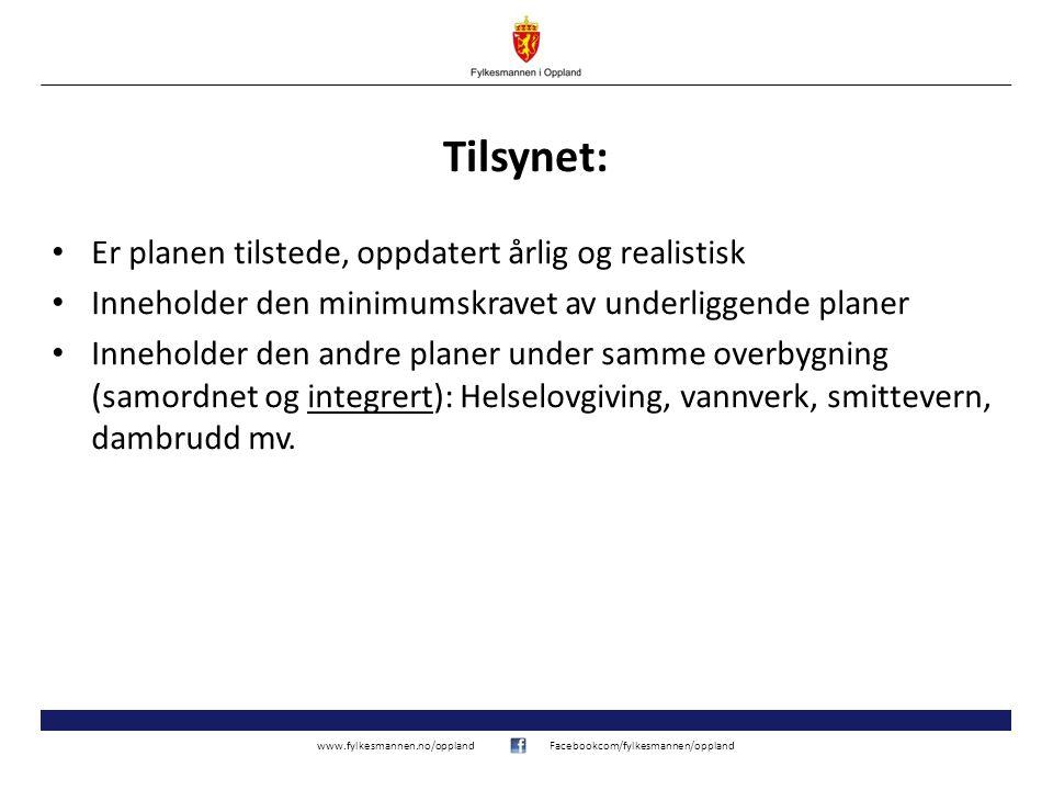www.fylkesmannen.no/opplandFacebookcom/fylkesmannen/oppland Tilsynet: Er planen tilstede, oppdatert årlig og realistisk Inneholder den minimumskravet