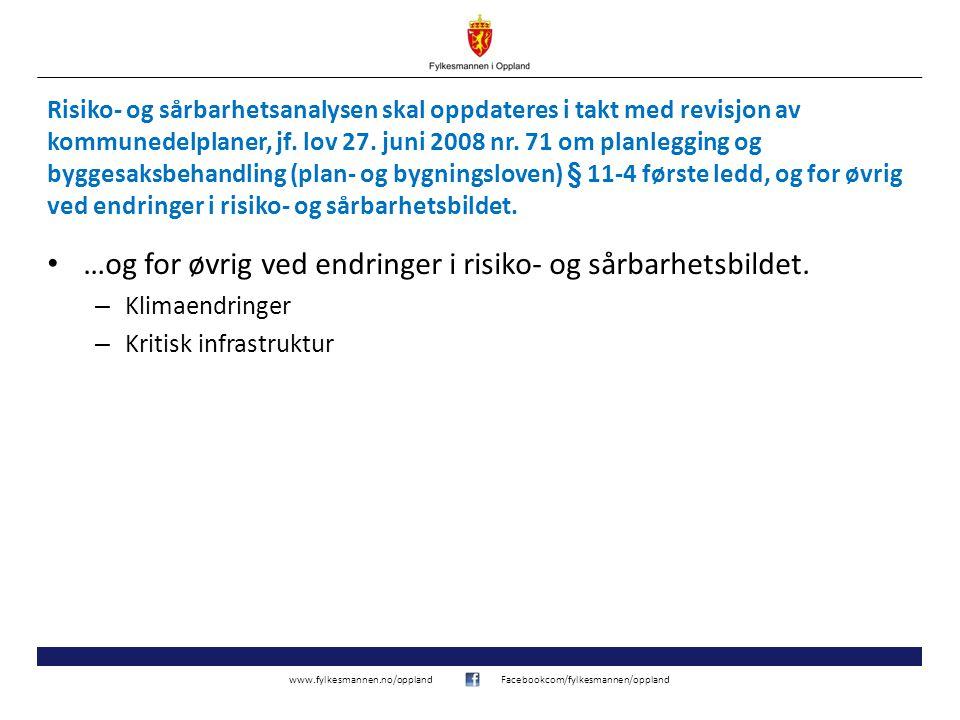 www.fylkesmannen.no/opplandFacebookcom/fylkesmannen/oppland Risiko- og sårbarhetsanalysen skal oppdateres i takt med revisjon av kommunedelplaner, jf.