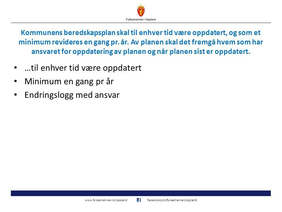 www.fylkesmannen.no/opplandFacebookcom/fylkesmannen/oppland Kommunens beredskapsplan skal til enhver tid være oppdatert, og som et minimum revideres e