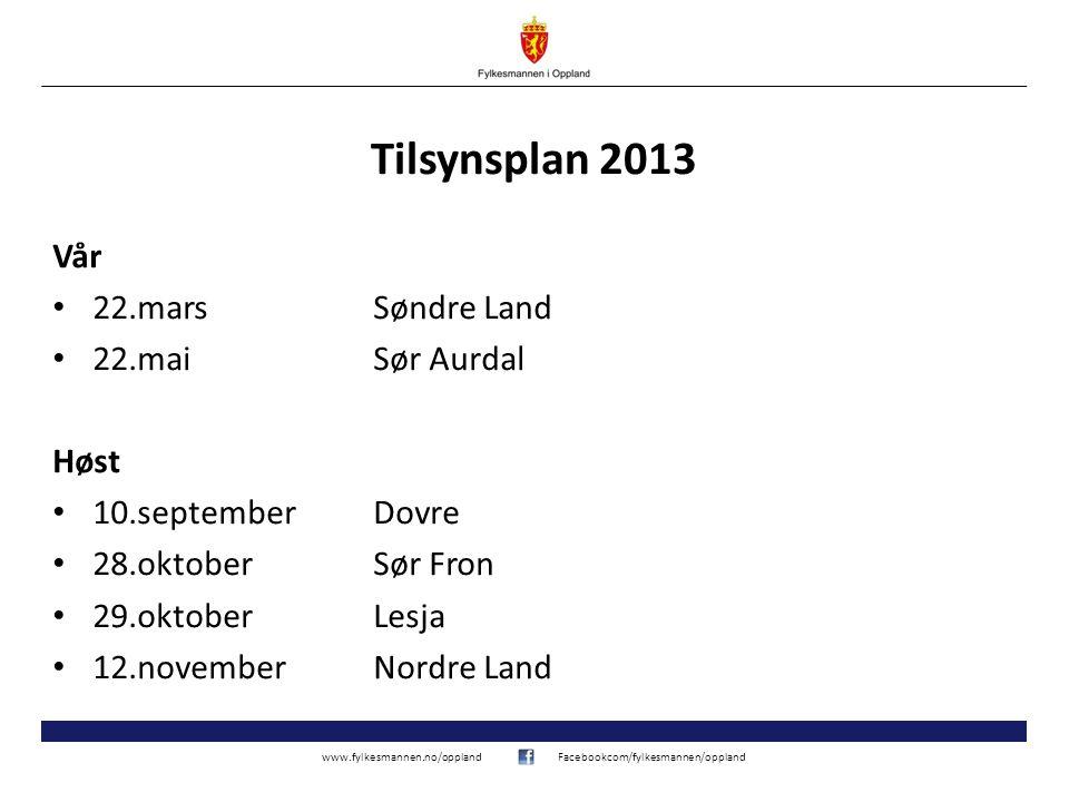 www.fylkesmannen.no/opplandFacebookcom/fylkesmannen/oppland Tilsynsplan 2013 Vår 22.mars Søndre Land 22.mai Sør Aurdal Høst 10.septemberDovre 28.oktob