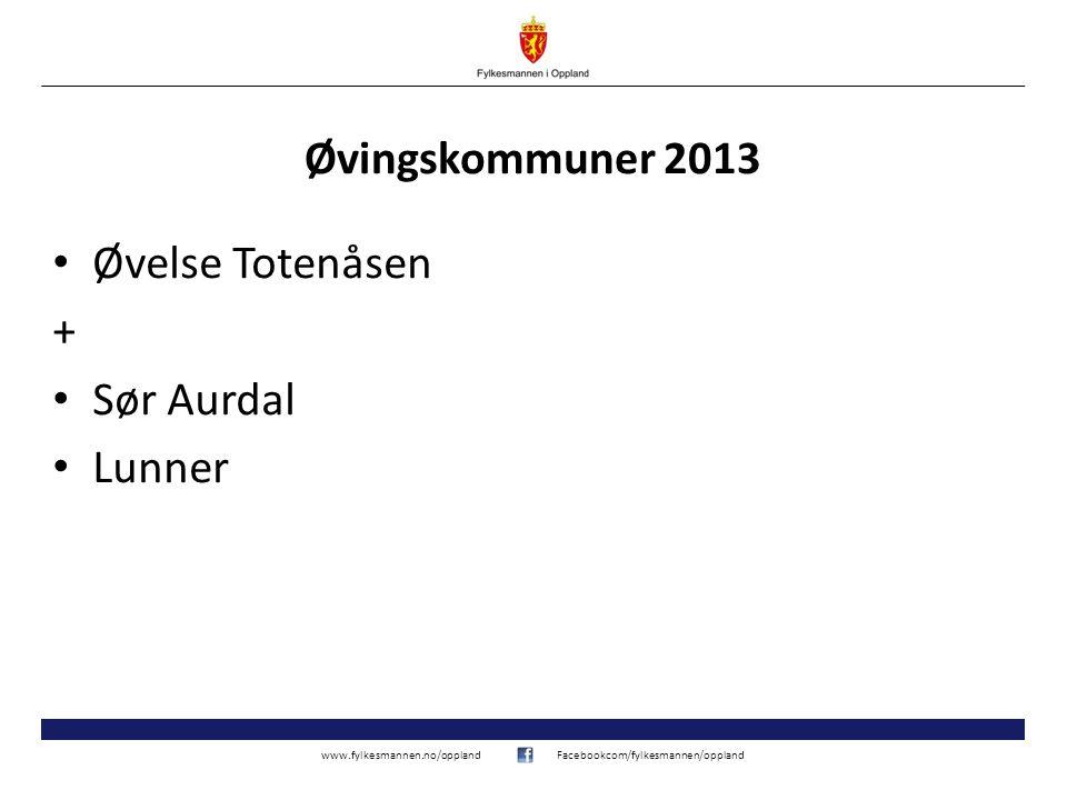 www.fylkesmannen.no/opplandFacebookcom/fylkesmannen/oppland Øvingskommuner 2013 Øvelse Totenåsen + Sør Aurdal Lunner