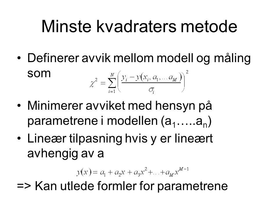 Minste kvadraters metode Definerer avvik mellom modell og måling som Minimerer avviket med hensyn på parametrene i modellen (a 1 …..a n ) Lineær tilpasning hvis y er lineært avhengig av a => Kan utlede formler for parametrene