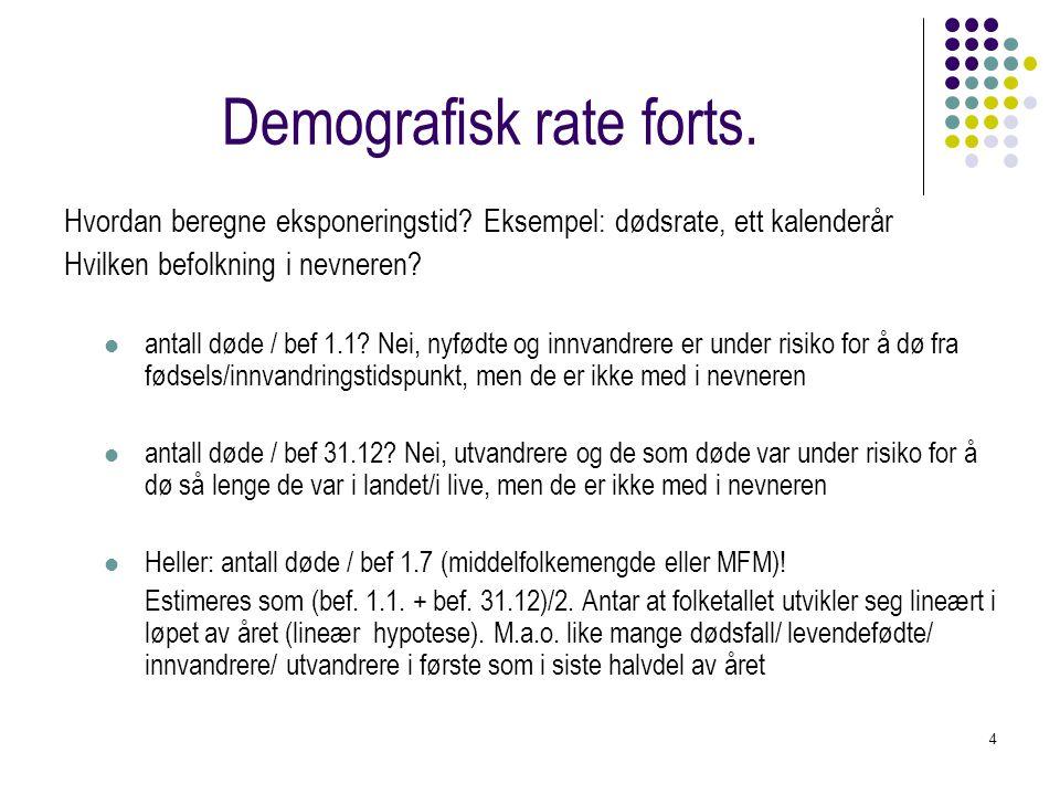 5 Demografisk rate forts.Summarisk dødsrate - SDR - for Norge 2001 Gitt: 44 465 dødsfall, Bef.
