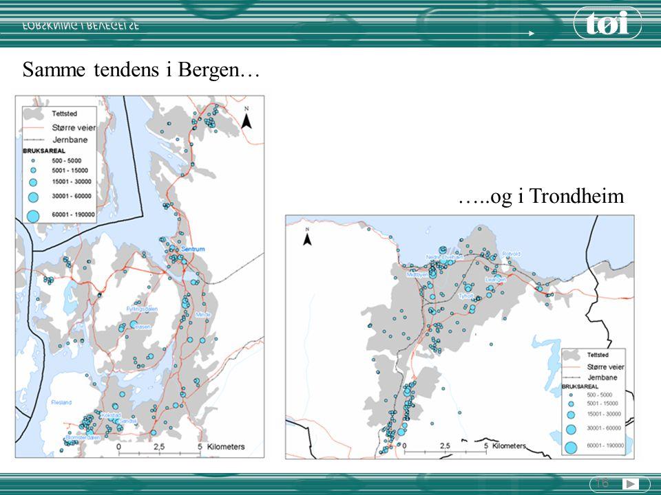 16 Samme tendens i Bergen… …..og i Trondheim