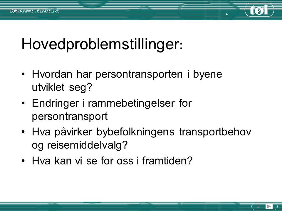 2 Hovedproblemstillinger : Hvordan har persontransporten i byene utviklet seg? Endringer i rammebetingelser for persontransport Hva påvirker bybefolkn