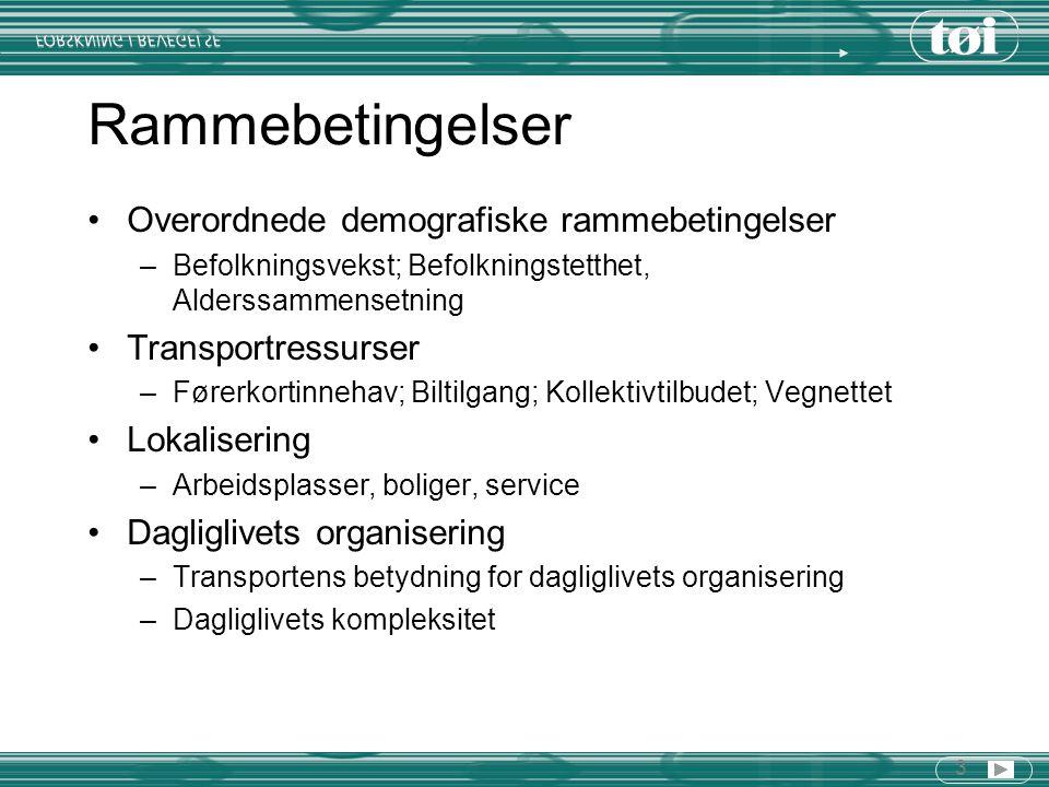 14 Lokalisering Kollektivandelen er høyest der befolkningstettheten er høyest Befolkningsveksten har vært størst i de delene av byområdene hvor kollektivandelen er lavest Arbeidsplasser og andre reisemål lokaliseres i økende grad til steder der kollektivandelen er lav Mot-trend 1: Indre by i de største byene mer attraktivt som boområde Mot-trend 2: Utbygging rundt viktige eksisterende kollektivknutepunkter (flest eksempler i Oslo) Mot-trend 3: Igangsatte og planlagte kollektivprosjekter i en del utbyggingsområder (eks Oslo, Bergen, Stvg/Sandnes) Mot-trend 4: Økt vilje til å styre lokalisering og arealbruk