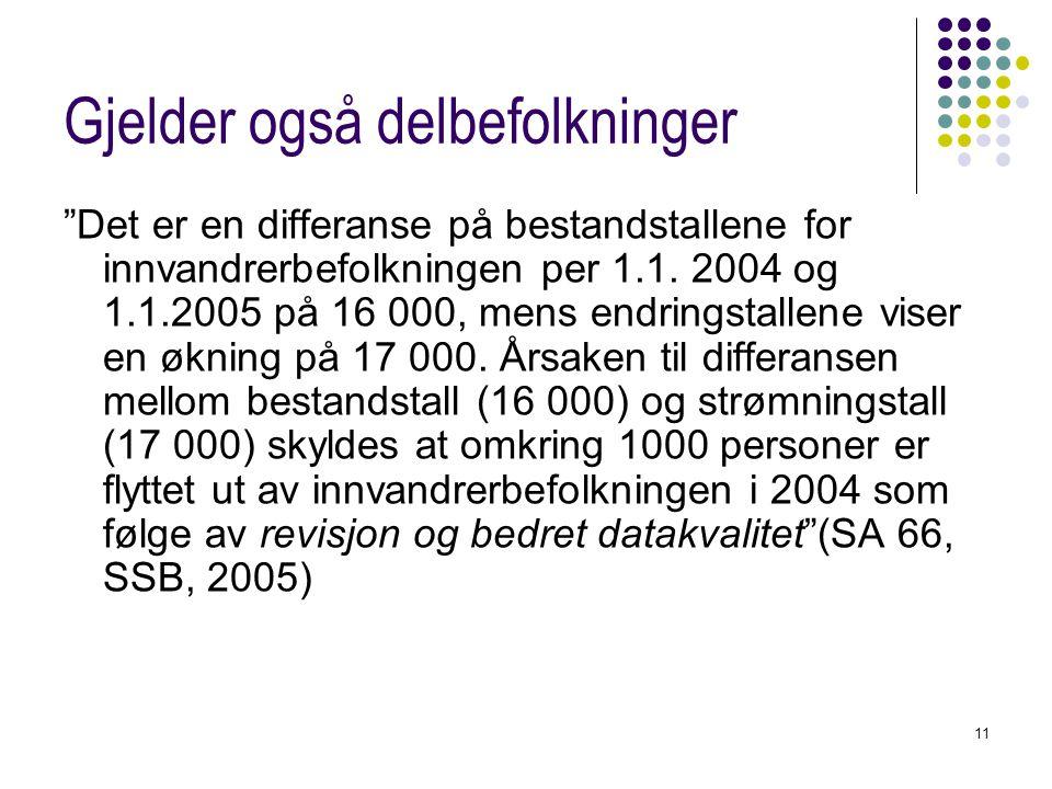 """11 Gjelder også delbefolkninger """"Det er en differanse på bestandstallene for innvandrerbefolkningen per 1.1. 2004 og 1.1.2005 på 16 000, mens endrings"""