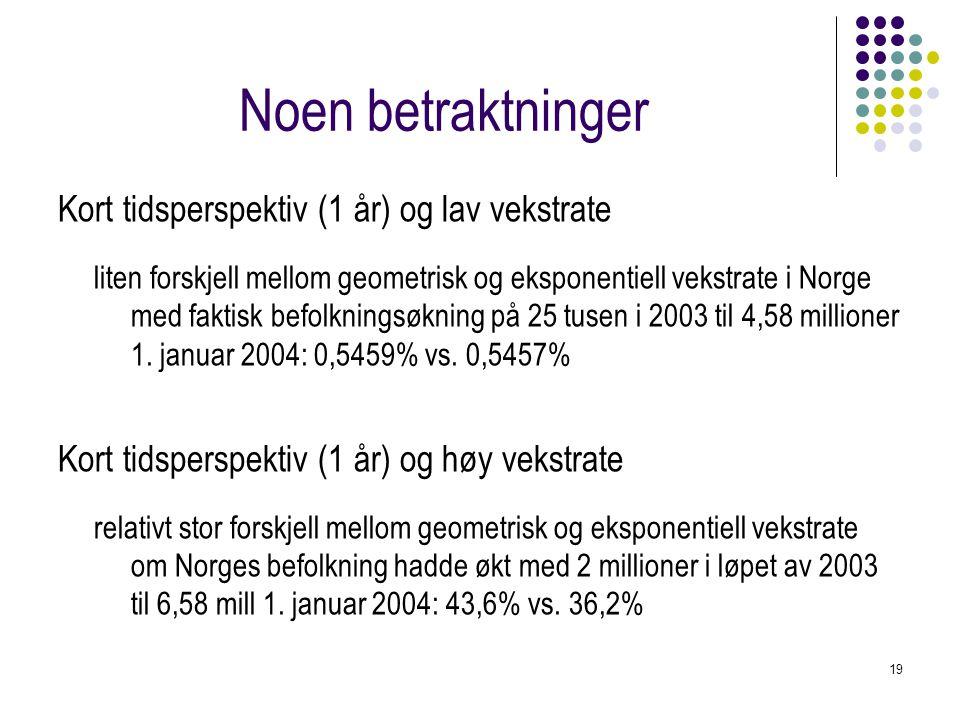 19 Noen betraktninger Kort tidsperspektiv (1 år) og lav vekstrate liten forskjell mellom geometrisk og eksponentiell vekstrate i Norge med faktisk bef