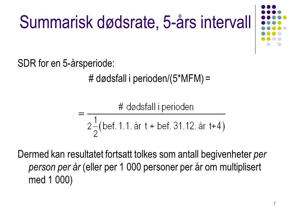 7 Summarisk dødsrate, 5-års intervall SDR for en 5-årsperiode: # dødsfall i perioden/(5*MFM) = Dermed kan resultatet fortsatt tolkes som antall begive