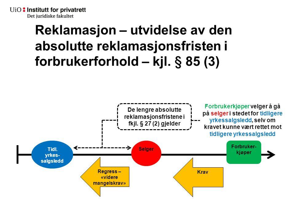 Reklamasjon – utvidelse av den absolutte reklamasjonsfristen i forbrukerforhold – kjl. § 85 (3) Tidl. yrkes- salgsledd Selger Forbruker- kjøper Krav R