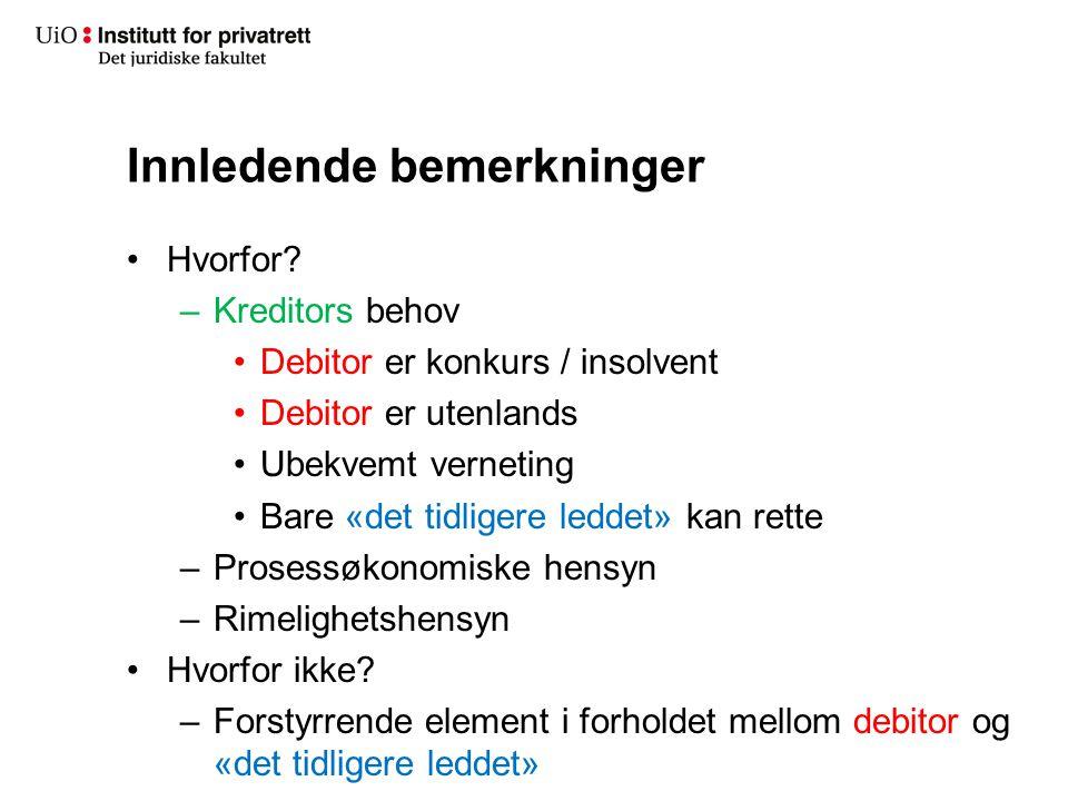 Innledende bemerkninger Hvorfor? –Kreditors behov Debitor er konkurs / insolvent Debitor er utenlands Ubekvemt verneting Bare «det tidligere leddet» k